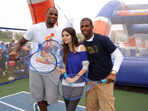 Causin' A Racket|Victoria Justice, LeBron James, and Chris Paul are ready to play, rackets in hand!