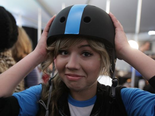 Helmet Head|Jennette reminds us to keep safety first while she shows off her bright blue helmet.