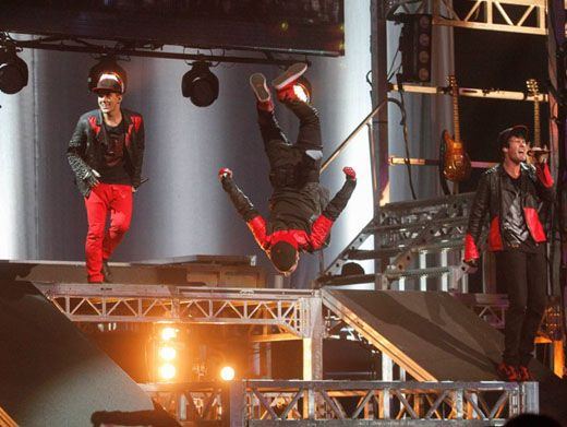 Nosedive!|Will someone tell BTR that a stage is NOT a swimming pool before they break something?! Just kidding, we know these guys are professionals.