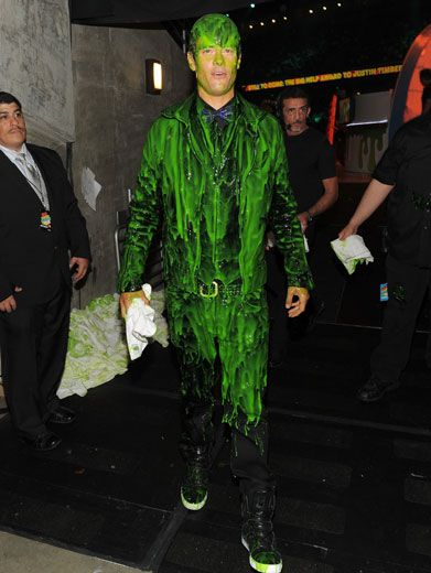 The Green Goblin|Josh Duhamel looked like a slippery slime monster when he stepped off stage after his epic slime shower.