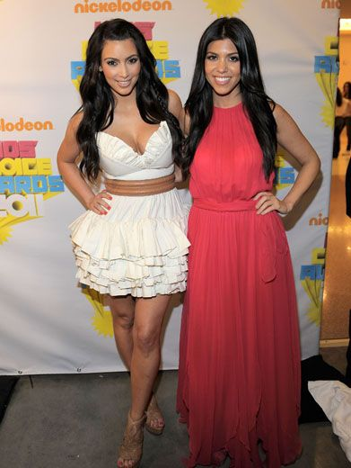 Dashing Kardashians|Kim and Khourtney Kardashian just love the Kids' Choice Awards. Maybe it's all that super chic slime.