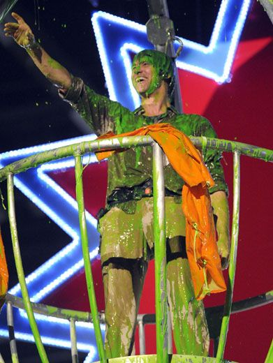 Carrey On The Slime-a-thon!|Jim Carrey is no stranger to getting all gooed up in green. Just look how much he's loving this slimefest!