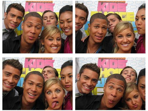 Rowdy Rangers|The cast of Power Rangers Samurai had fun horsing around in the KCA photo booth. What silly Samurai soldiers.