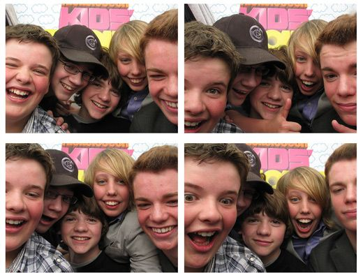 Gr8 Photos!|The kids from the cast of Super 8 stopped in for some tightly-squeezed photo fun.