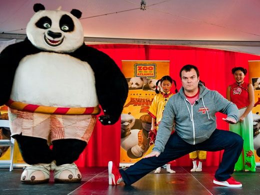 Panda Pose|Jack Black shows off some of his cuckoo karate moves while promoting his Kung Fu Panda sequel.