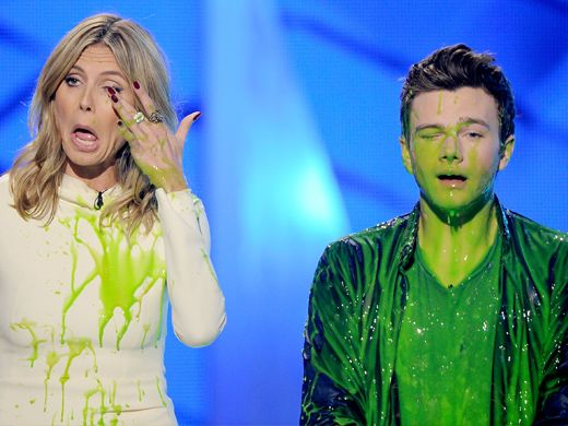 KCA 2012: Heidi Klum & Chris Colfer Recovery|The supermodel and the chamber singer bask in slimy glory.