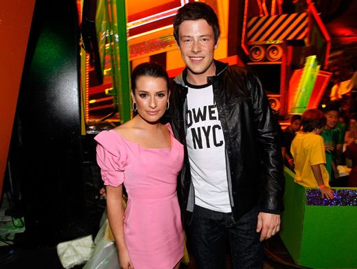Lea Michele & Cory Monteith|Glamorous Glee stars Lea Michele and Cory Monteith stick together backstage at the 2010 Kids' Choice Awards.