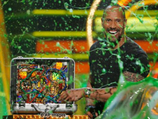 3...2...1...Slime!|Host Dwayne Johnson cut the green wire, and all slime broke loose.