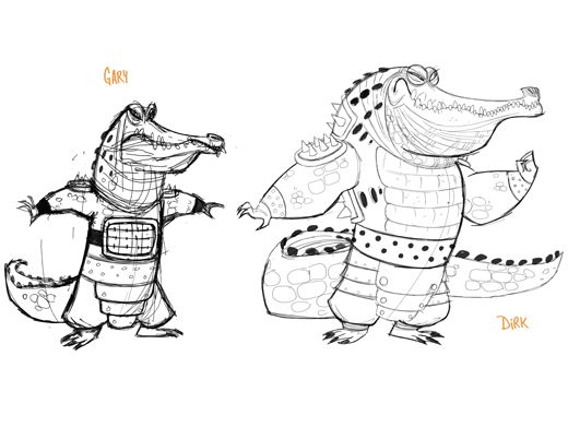 Crocodile Cronies|Crocodile cronies Gary and Dirk don't look so dangerous as simple sketches.