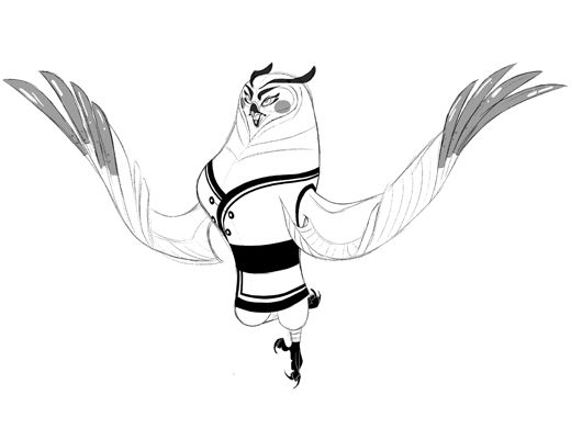 Early Owl|The beautiful Fenghuang is a graceful but evil owl, even as a line drawing.