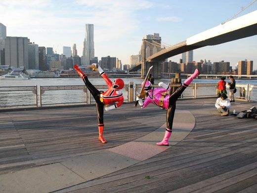 Hi-Ya!|The Rangers show off their high kicks on the Brooklyn Bridge.