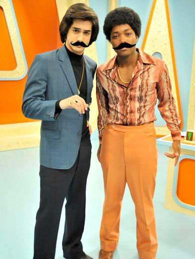 Bristle Brothers|Beck and Andre round out their smooth seventies-dude duds with a pair of super suave 'staches.